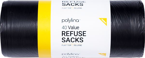 Polylina provide 80 litre black refuse sacks with flat top closure style
