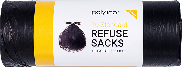 Polylina provide 80 litre black refuse sacks with tie handle closure style